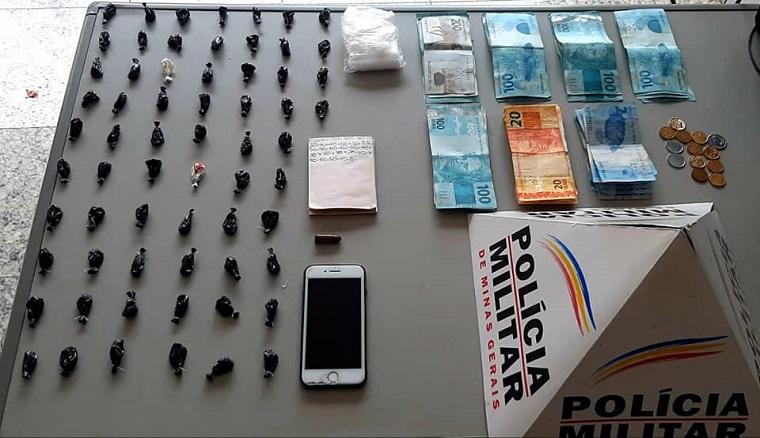 No bairro Catarina, muita cocaína e dinheiro apreendidos com dois suspeitos