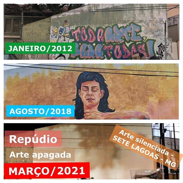 Grafite apagado ao lado da Casa da Cultura gera polêmica e prefeitura se manifesta