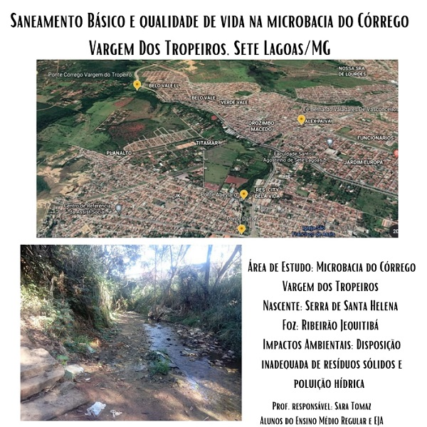 Projeto alerta sobre riscos de utilizar água de bicas próximas ao Córrego dos Tropeiros