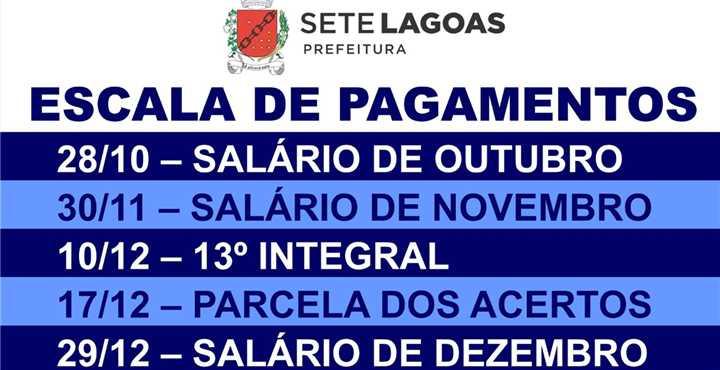 CONFIRA ESCALA - Prefeitura anuncia 13° salário para 10/12 e volta do pagamento de rescisões