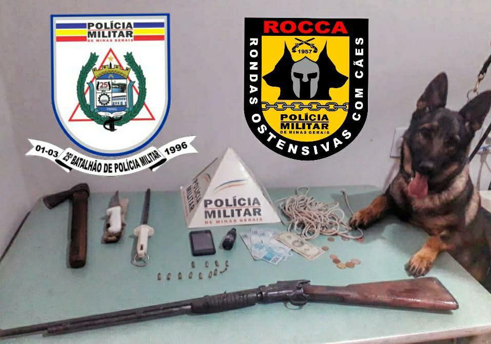 A arma foi localizada com o auxílio da ROCCA - Rondas Ostensivas Com Cães