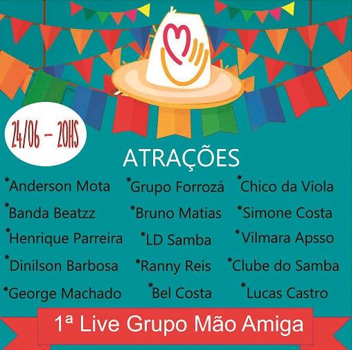"""Grupo """"Mão Amiga"""" realiza live beneficente"""