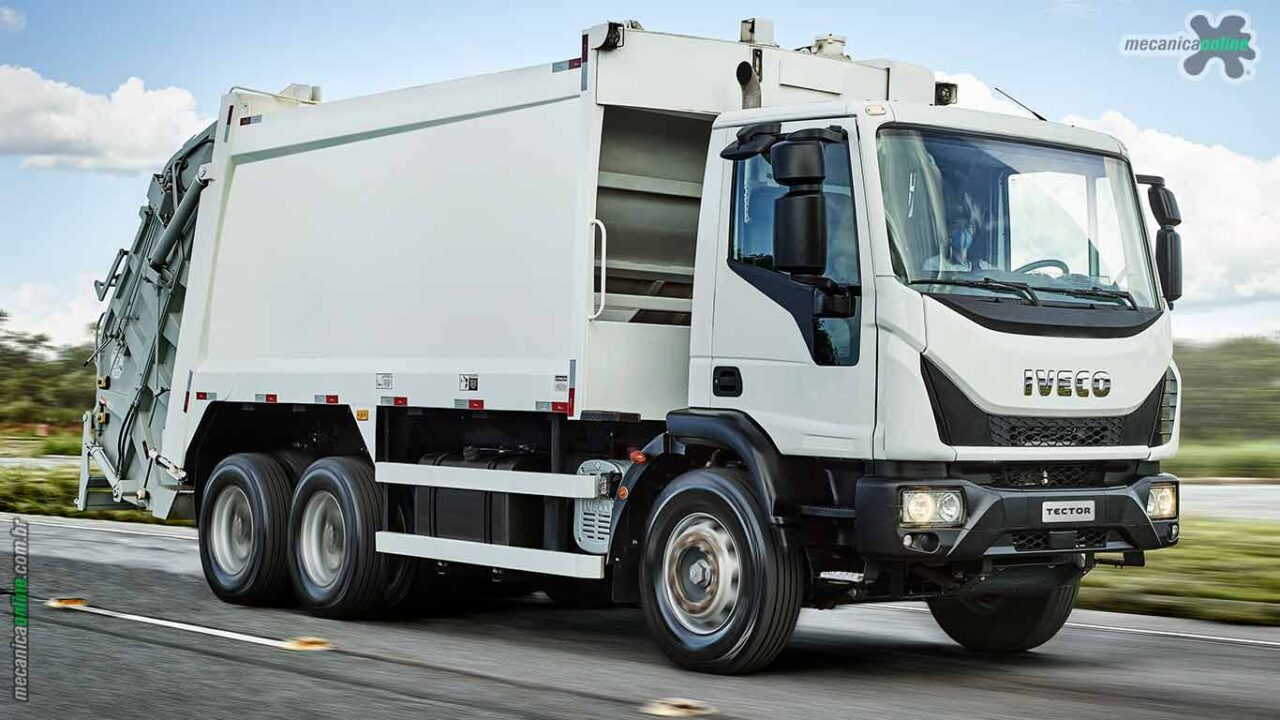 O Iveco Tector Auto-Shift Coletor é equipado com o motor NEF n67, da FPT Industrial, com 300 cv e 1.050 Nm de torque.